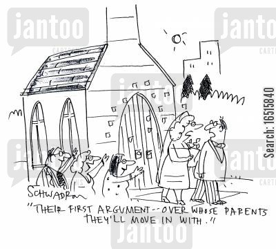 church weddings cartoon humor: 'Their first argument - over whose parent's they'll move in with.'