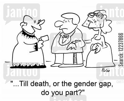 gender gap cartoon humor: ...Till death, or the gender gap, do you part?