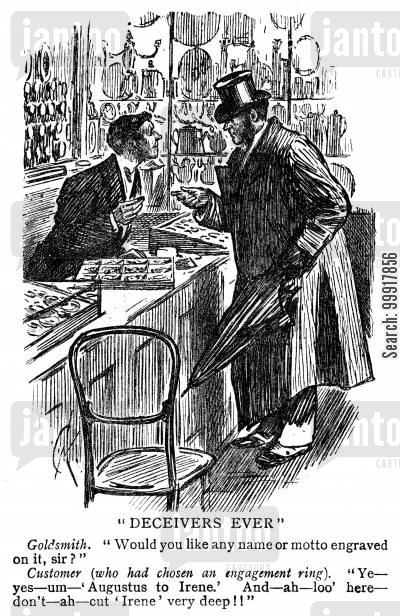 jewelery cartoon humor: Man buying an engagement ring and asking for the lady's name not to be engraved too deep.