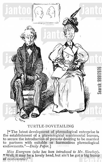 dovetailing cartoon humor: Phrenological matrimonial bureau