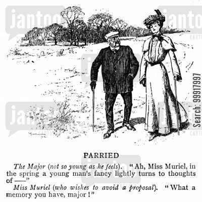 aged cartoon humor: Young lady wishing to avoid a proposal from an old major