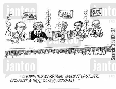 brought date cartoon humor: 'I knew the marriage wouldn't last...She brought a date to our wedding.'