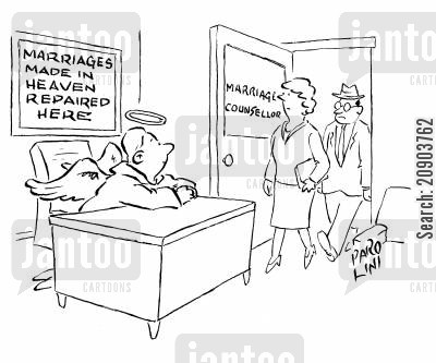 marriage troubles cartoon humor: Marriage counsellor is an angel: Sign on the wall - 'Marriages made in heaven repaired here'.