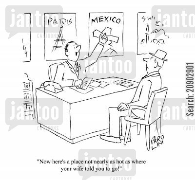holiday booking cartoon humor: 'Now here's a place not nearly as hot as where your wife told you to go!'