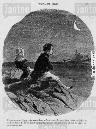 night time cartoon humor: Married Life - Lovers watching the moon
