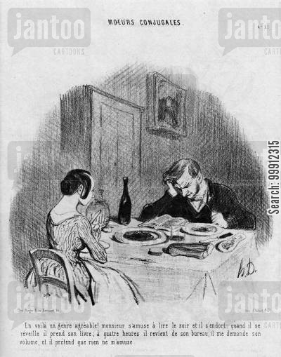 insular cartoon humor: Married Life - Husband paying his wife no attention at the dinner table
