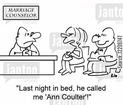 coulter cartoon humor: MARRIAGE COUNSELOR, 'Last night in bed, he called me 'Ann Coulter'!'