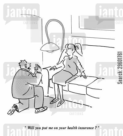 medical expenses cartoon humor: 'Will you put my on your health insurance?'