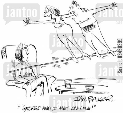 tightrope walkers cartoon humor: 'George and I met on line!'