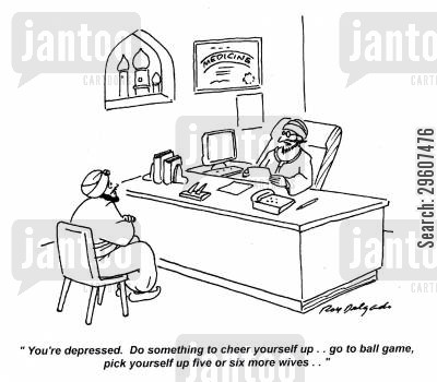analyst cartoon humor: 'You're depressed. Do something to cheer yourself up... go to ball game, pick yourself up five or six more wives.'