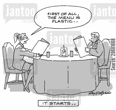 snooty cartoon humor: 'First of all, the menu is plastic.'
