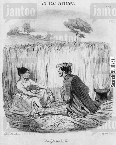 young lovers cartoon humor: Les Bons Bourgeois - An idyll in the corn