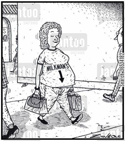 beau cartoon humor: An expecting Woman wearing a 'Baby here, arrow t-shirt' saying MILKMAN'S