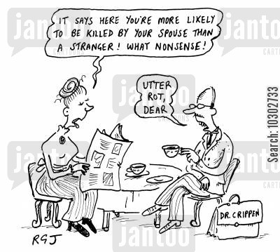 adulteror cartoon humor: 'It says here you're more likely to be killed by your spouse than a stranger! What nonsense!'