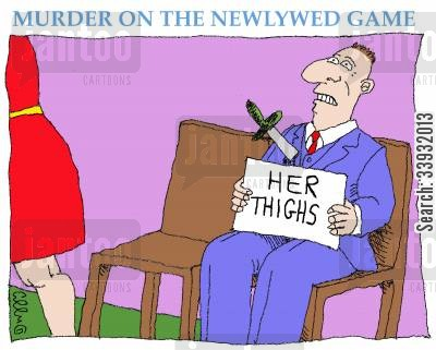 murdering cartoon humor: Murder on the Newlywed Game.