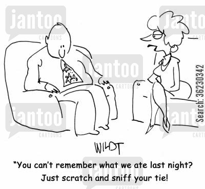 neckties cartoon humor: You can't remember what we ate last night? Just scratch and sniff your tie!
