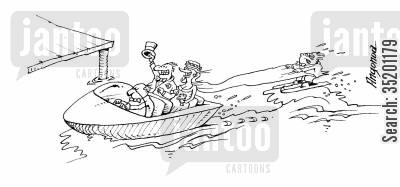 newly weds cartoon humor: Just married - newlyweds drag a waterskier.