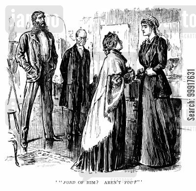 george du maurier cartoon humor: Trilby - 'Fond of him? Aren't you?'