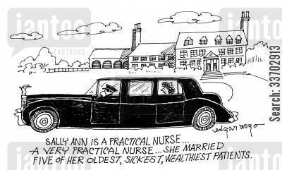 sickly cartoon humor: Sally Ann is a practical nurse...A very practical nurse...she married five of her oldest, sickest, wealthiest patients.