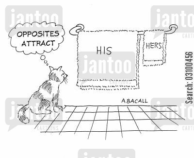 hers cartoon humor: Opposites Attract: HisHers.