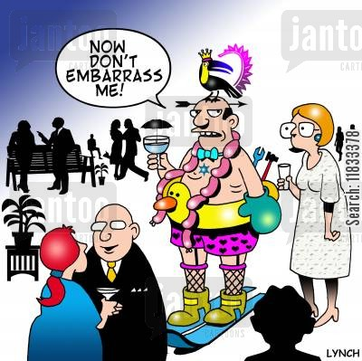 cocktail party cartoon humor: Now don't embarrass me!