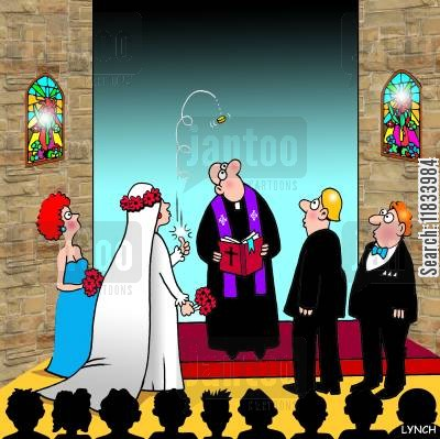 bridesmaid cartoon humor: Wedding Coin Tosser