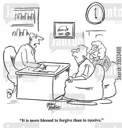 arrguments cartoon humor: Pastor to couple: 'It is more blessed to forgive than to receive.'