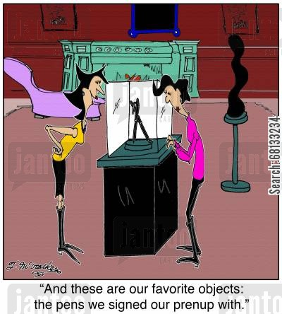 fiance cartoon humor: 'And these are our favourite objects: the pens we signed our pre-nup with.'