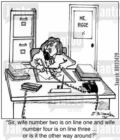 serial husband cartoon humor:  'Sir, wife number two is on line one and wife number four is on line three ... or is it the other way around?'