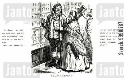 photograph cartoon humor: Husband and wife outside photographer's shop