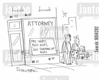 live together cartoon humor: Attorney - Pre-nups, post-nups, just shacking up-nups.