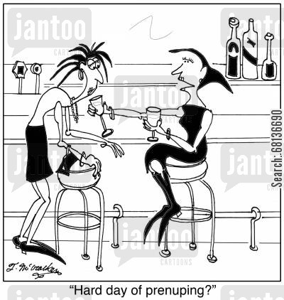 pre-marital agreement cartoon humor: 'Hard day of prenuping?'