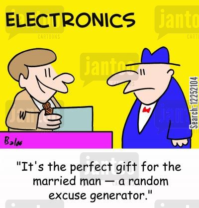 generators cartoon humor: 'It's the perfect gift for the married man -- a random excuse generator.'