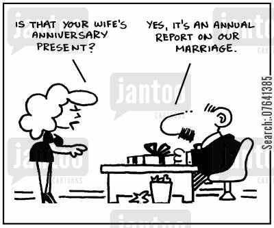anniversary present cartoon humor: 'Is that your wife's anniversary present?' - 'Yes, it's an annual report on our marriage.'