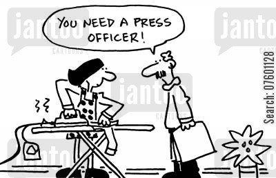 ironing clothes cartoon humor: 'You need a press officer!'