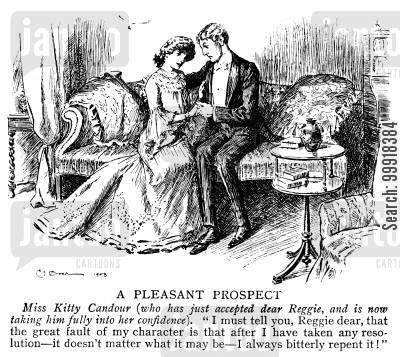 commitment cartoon humor: Lady who has just accepted a proposal.