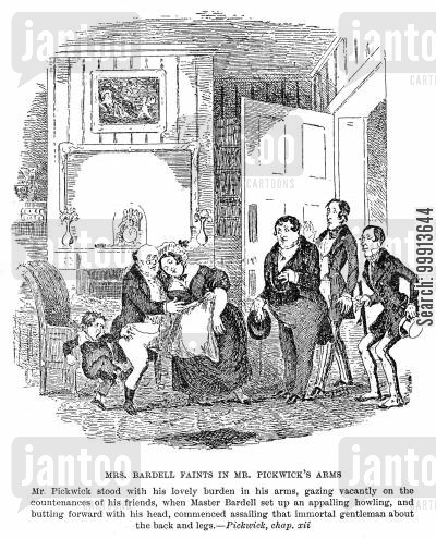 fainting cartoon humor: Mrs. Bardell Faints in Mr. Pickwick's Arms
