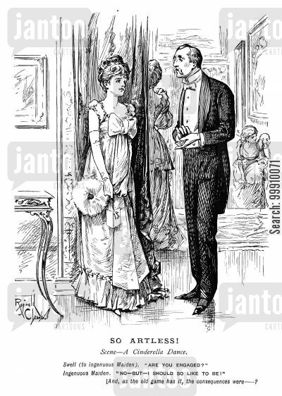 maiden cartoon humor: Man and lady at a dance