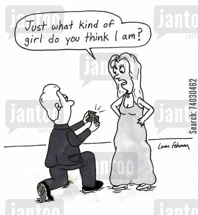 diamonds cartoon humor: 'Just what kind of girl do you think I am?'