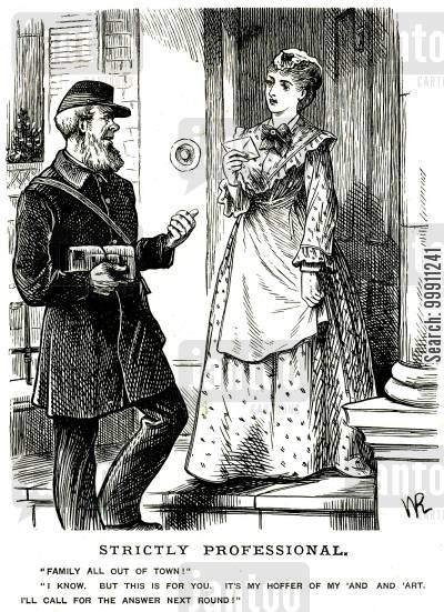 offer cartoon humor: Postman proposing to a maid in a letter
