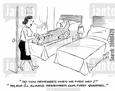 domestic abuse cartoon humor: '...I'll always remember our first quarrel.'