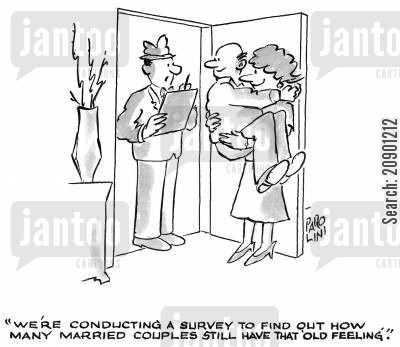 questionnaire cartoon humor: 'We're conducting a survey to find out how many married couples still have that old feeling.'
