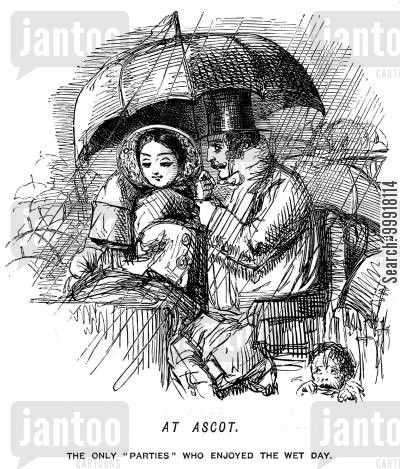 ascot cartoon humor: Young couple at Ascot