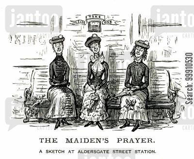 aldersgate street station cartoon humor: Ladies sitting at the train station