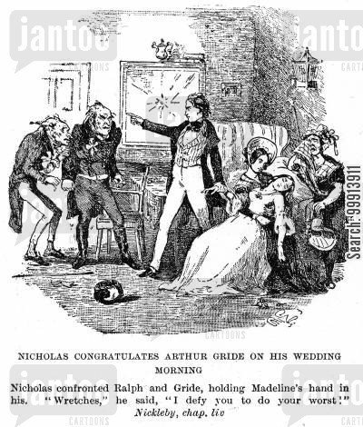 dickens cartoon humor: Nicholas congratulates Arthur Gride on his wedding morning