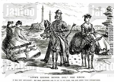 trips cartoon humor: Man and woman on donkeys at the beach