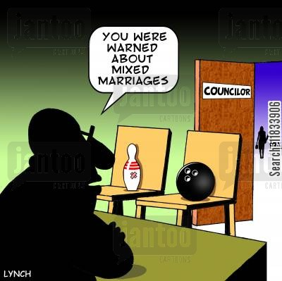 mixed marriage cartoon humor: 'You were warned about mixed marriages.'