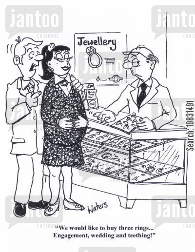 pregnant brides cartoon humor: 'We would like to buy three rings... Engagement, wedding and teething!'
