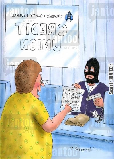 love notes cartoon humor: Bank Robber Shows Note From His Wife.