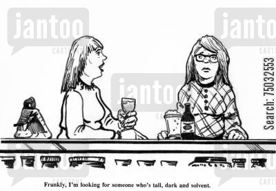 dating service cartoon humor: 'Frankly, I'm looking for someone who's tall, dark and solvent.'